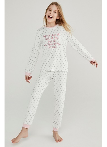 Penti Kız Çocuk Beyaz Teen Hearth Termal 2'li Pijama Takım PN76R3PA20SK Beyaz